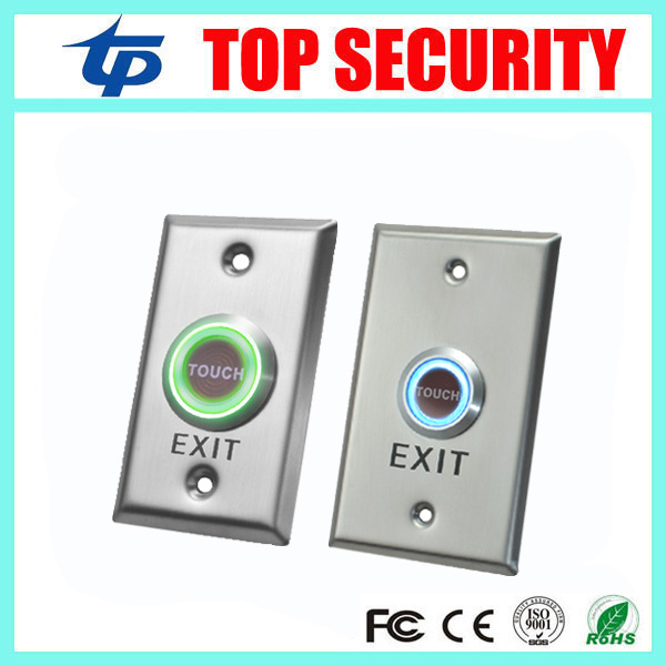 New Arrival 10pcs Stainless Steel Touch Exit Button With Led Light Push Exit Switch Door Release Button For Access Control lpsecurity stainless steel door access control led backlit led illuminated push button door lock release exit button switch