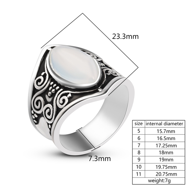 Vintage Silver Big Stone Ring for Women Fashion Bohemian Boho Jewelry 2018 New Hot 5