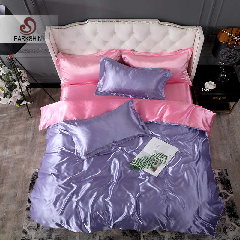 ParkShin Luxury Bedding Set Purpel Bedspread Double Flat Sheet Pillowcase Bed Linens Decor Home 100% Satin Silk Duvet Cover Set