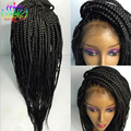High Quality Fashion Synthetic Fiber Black Braid Wig Synthetic Lace Front Box Braid Wig Women's Black Brading Wig Free Shipping