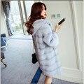 Chegam novas 2017 Marca de Moda de Alta-grade Mulheres Casaco de Pele De Vison com Capuz de Alta Qualidade casaco de Inverno Quente Mulheres Parka Outwear Mais tamanho