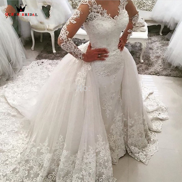 Custom Made Detachable Train Vintage Wedding Dresses Tulle Lace Pearls Beading Wedding Gowns Vestido De Noiva Bridal Gowns DR32