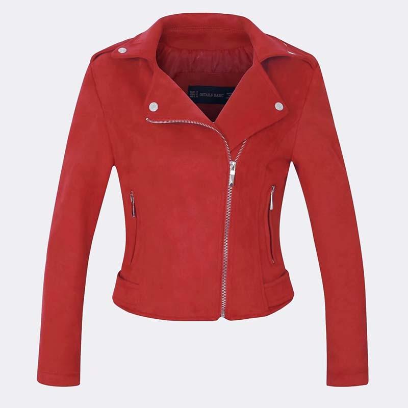 autumn women faux   suede     leather   biker jackets 2019 long sleeve zipper   suede   coat streetwear autumn outfit red brown