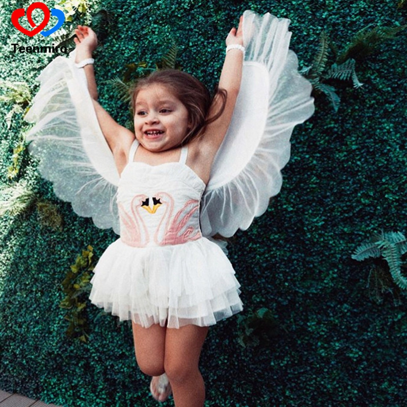 Flamingo Tutu Dress for Girls Dance Clothes Baby Kids Party Dresses Cartoon Removable Angel Wings Birthday Child Girl Clothing 2014small little girl homemade parent child clothes for mother child bugs bunny cartoon one piece dress baby sweatshirt