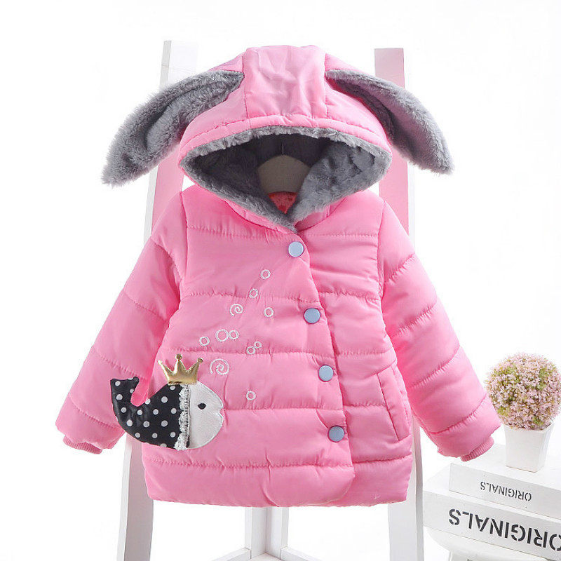 2017 children outerwear baby girls cotton Cartoon fish Hooded coats Winter Jacket Kids Coat Girls 9M-3T 2017 winter baby coat kids warm cotton outerwear coats baby clothes infants children outdoors sleeping bag zl910