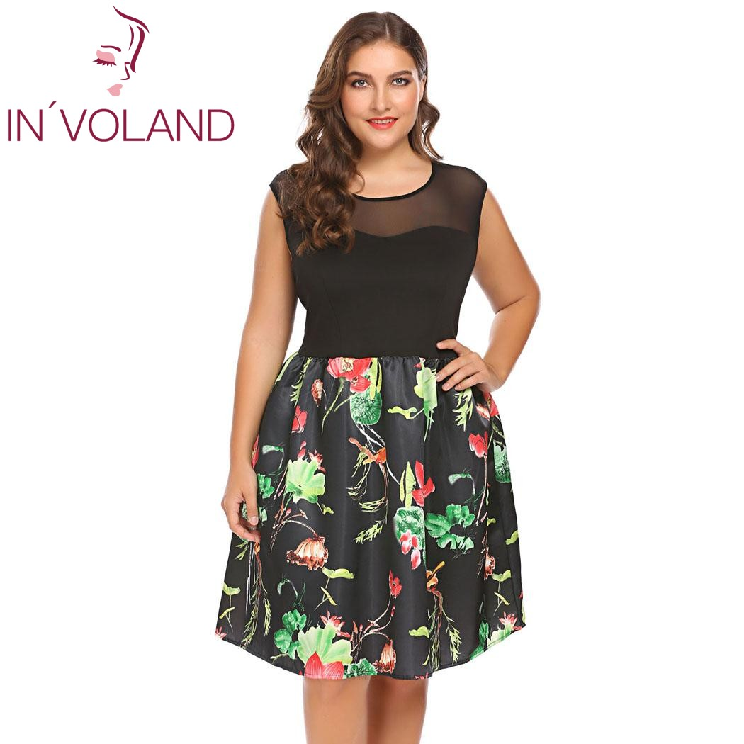 7cb0eb18a75e8 IN'VOLAND Plus Size XL-5XL Women Vintage Dress Sleeveless Floral Patchwork  Party Feminino Large A-Line Dresses Vestidos Big Size