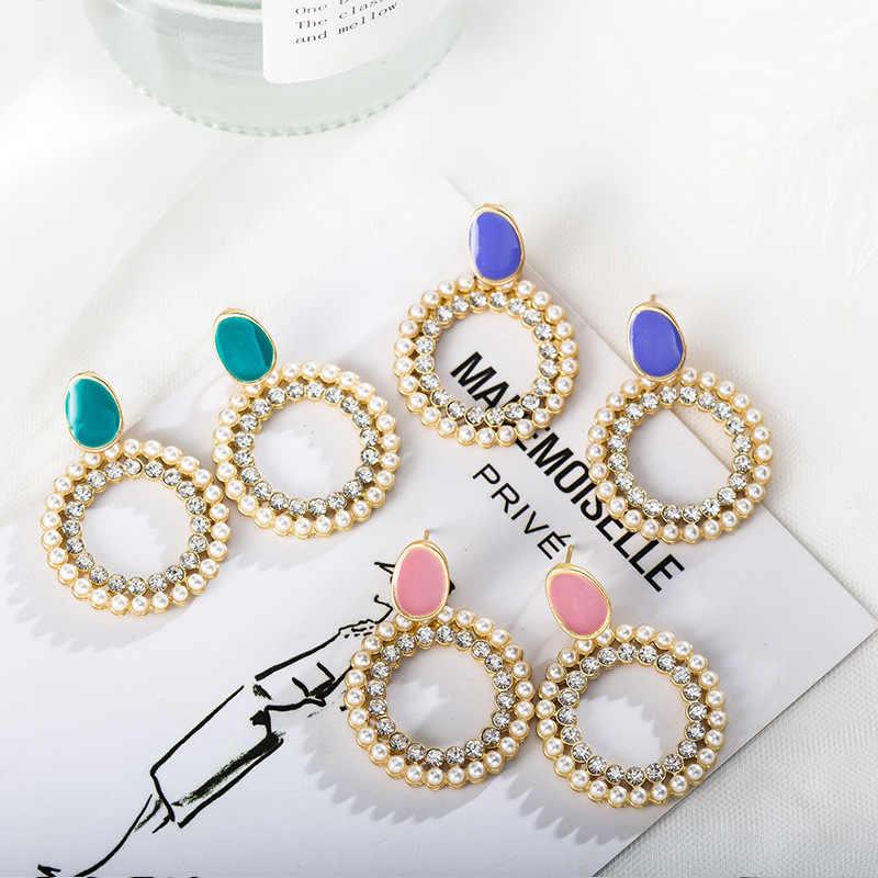 2019 pendientes de declaración de moda de perlas de colores geométricos colgantes pendientes de gota para mujeres niñas boda fiesta joyería regalos
