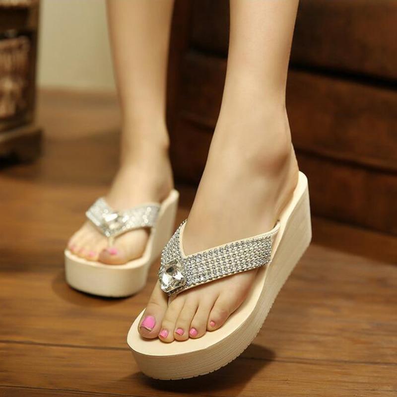 shoes woman Hot 2017 Summer Lolita Woman Lace Beads Female Platform Flat Sandals Rhinestone Flip Flops