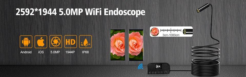HTB1VXwzOhnaK1RjSZFBq6AW7VXas WIFI Endoscope Camera HD 1200P 1-10M Mini Waterproof Hard Wire Wireless 8mm 8 LED Borescope Camera For Android PC IOS Endoscope