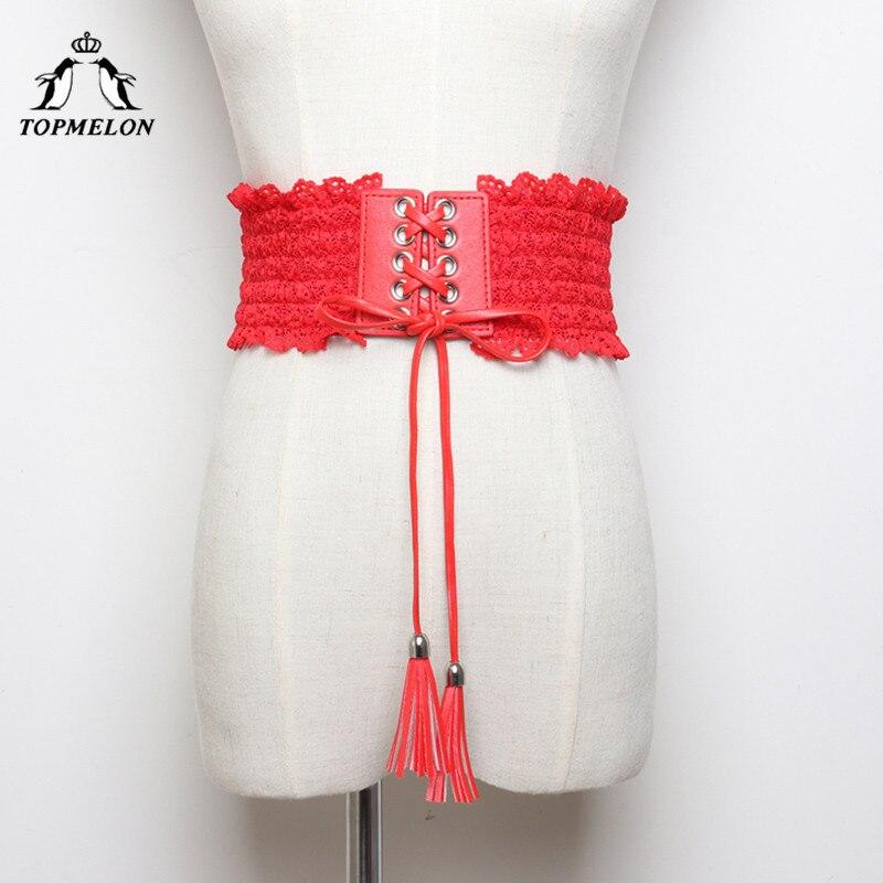 TOPMELON Modeling Strap Slimming Belt Waist Trainer Body Shaper Shapewear Belly Slimming Sheath Ruffles Lace Up Waist Shapers