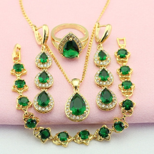 New Groene Steen Gouden Kleur Sieraden Sets Voor Vrouwen Hot Selling #GI41