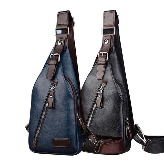 0958741491c16c Men Leather Vintage Fashion Sling Chest Bag Travel Cross Body Messenger  Small Male Shoulder Bag Anti