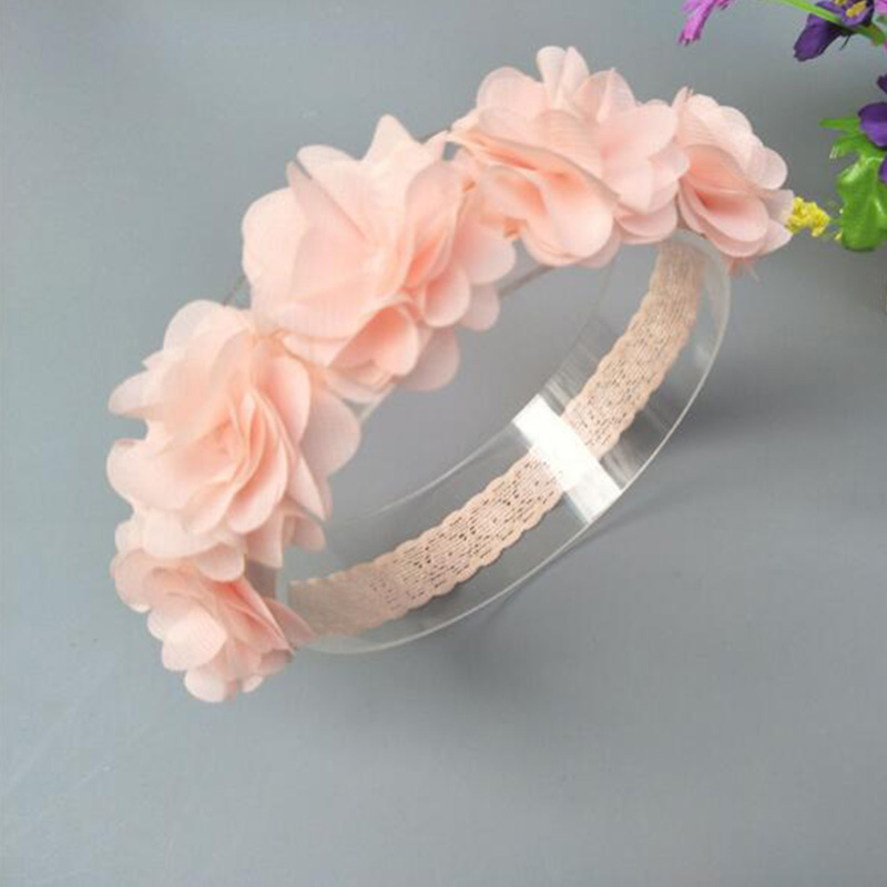 Flower Headband Pink White Ribbon New Baby Hair Bands Handmade DIY   Headwear   Hair accessories for Children Newborn Toddler