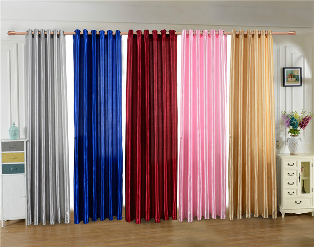 Home Textile Door Bedroom Window Curtain Five Beautiful Satin Fabric Pure Color Solid Punching Cloth