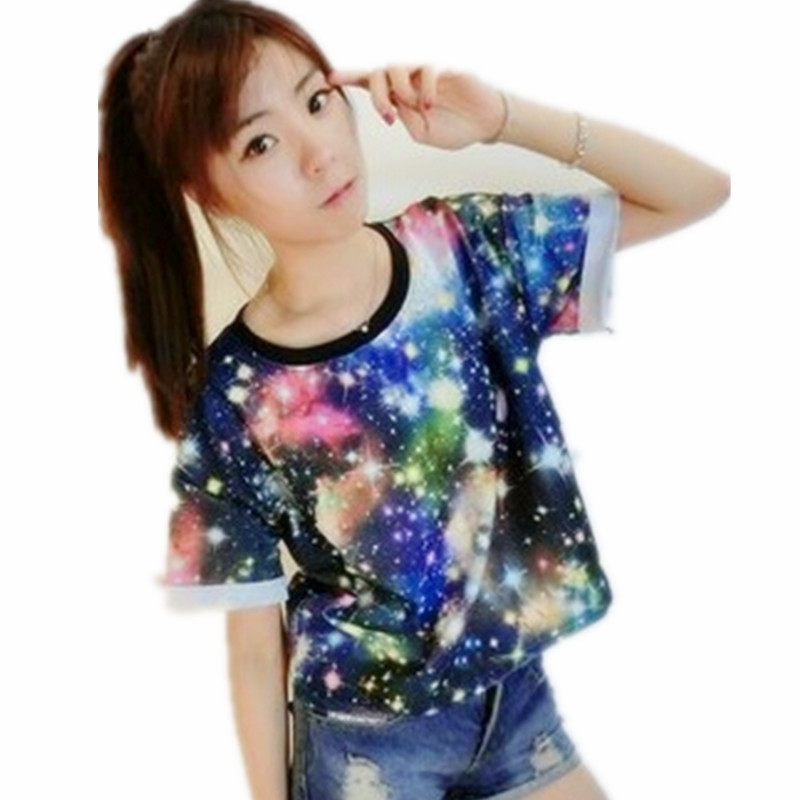 Women Colorful Galaxy Tie Dye T Shirt female cotton Tees Cropped Tops o neck Loose Street wear Hippie Dyed Casual Summer Clothes