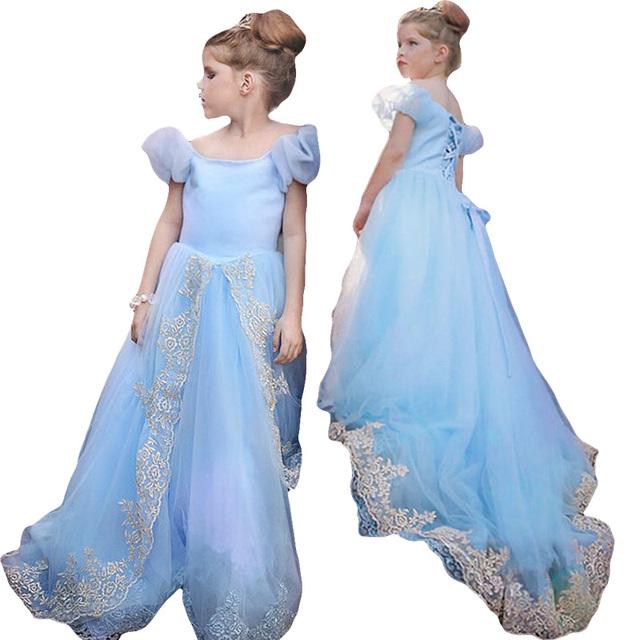 ¡ Caliente!!! bebé Cenicienta Princesa vestido de niña de verano vestidos de fiesta para niñas ropa de Navidad Cinderella vestidos de cola de milano