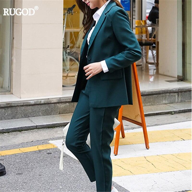 Rugod Femmes Blazer + Pantalon Costume 2018 Automne Casual Dames Élégantes Pantalon Costumes Rayé Formelle Pantalon Costumes Femmes Costumes d'affaires