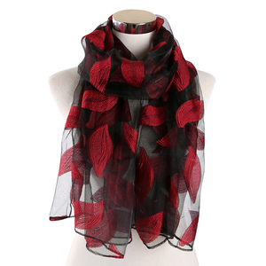 Image 2 - FOXMOTHER Women Scarfs Red Green Color Embroidered Leaves Lace Scarves Cut Flower Leaf Shawl Muslim Hijab Sjaal Scarfs Ladies