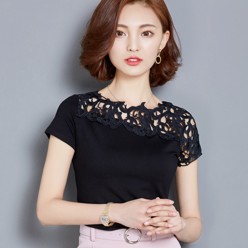 Summer Women Hollow Out Lace O-Neck Solid Color Cotton T-shirt Female Slim Short-sleeve Embroidery Flower Chinese Style Tops