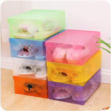 Multicoloured Opened Rectangle Storage Box Stackable Crystal Clear Plastic Shoe Storage Boxes Folding Case Organizer
