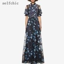 Self Portrait Платье макси с цветочным принтом женские длинные сетчатые платья 2017