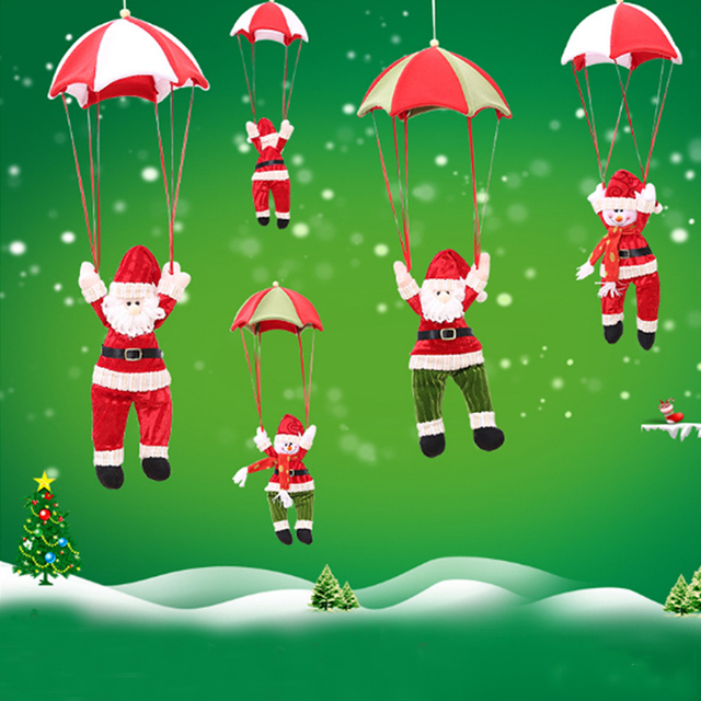 Lovely Hanging Christmas Pendant Parachute Santa Claus Decoration Great For Home Ceiling