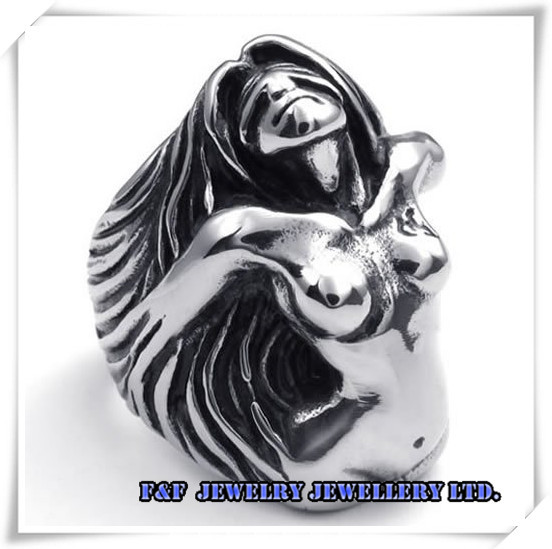 Mens Big Heavy Angel Goddess Woman Biker 316L Stainless Steel Ring US Size 8-12,,R#63 - FUNFUN store