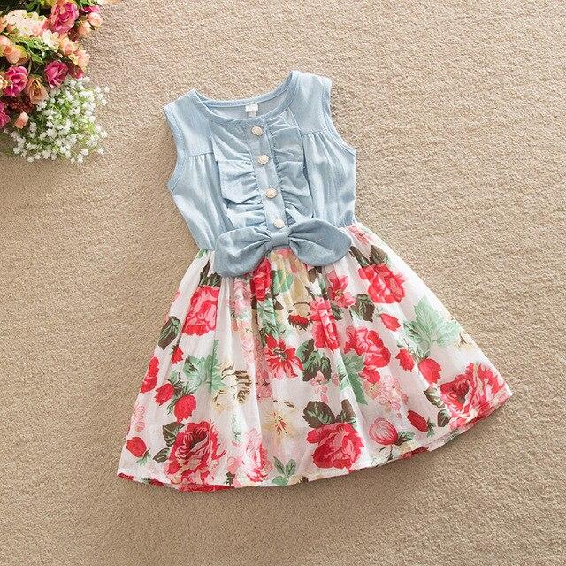 b2d8254e0cbe New 2017 Girl s Childrens Denim Flower Dresses For 2 8 Yrs Baby ...