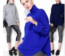 New high-collar cashmere sweaters Winter Wool Women Warm Solid Sweaters Casual Full Sleeve Turtleneck Loose thick Pullovers