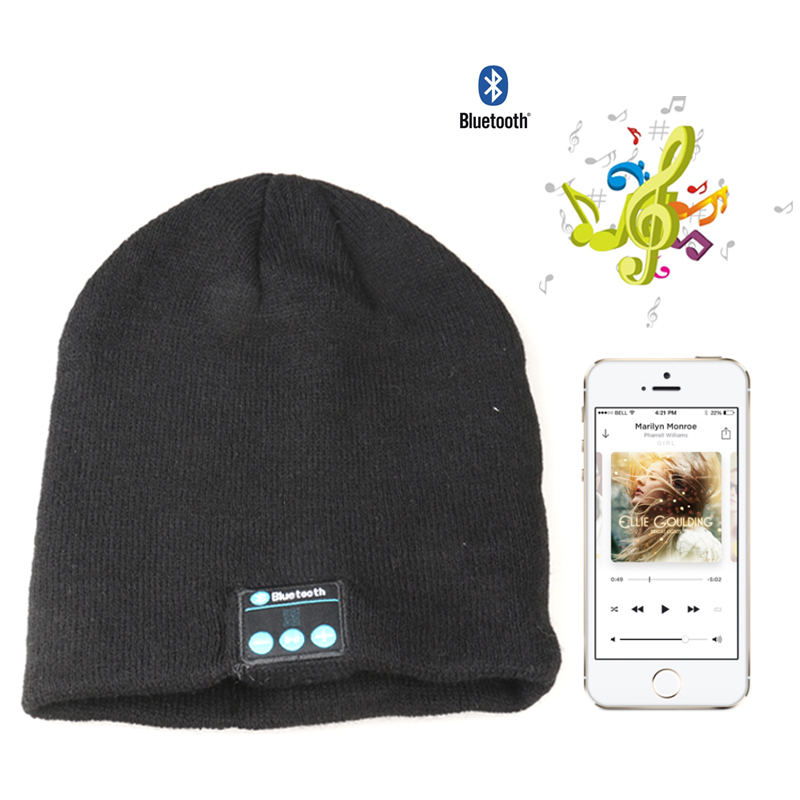 2016 New Bluetooth Hat Cap Mini Wireless Speaker Bluetooth Receiver Audio Music Bluetooth Headset Headphone For iphone Russia edt bluetooth music beanie hat soft warm cap with stereo headphone headset speaker