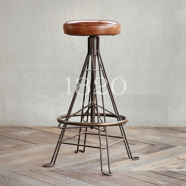 American Retro Loft Mix And Match Leather Stool Surface Cast Iron Base To