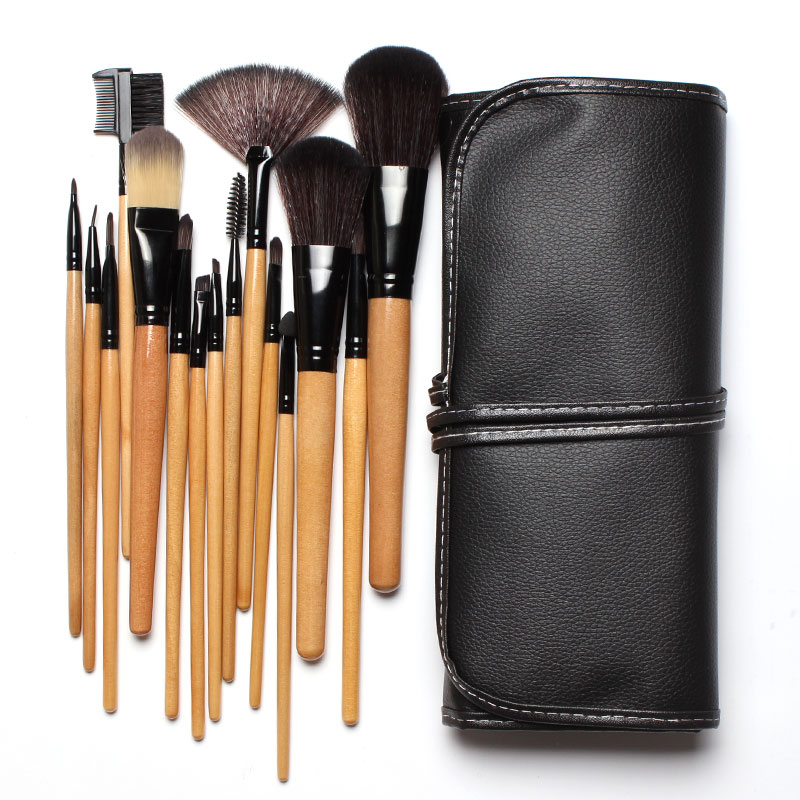 1Soft Synthetic Hair Makeup Tools Kit Cosmetic Beauty Brush Sets with Black Leather Case