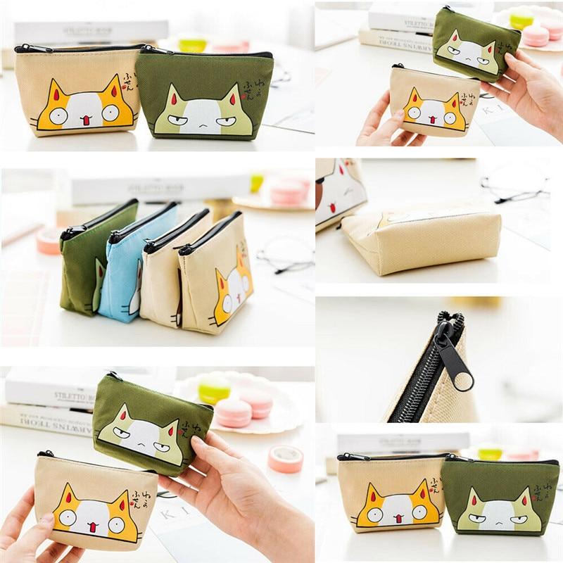 NoEnName Women Girls Canvas Leather Small Mini Wallet Card Holder Zip Cute Cartoon Coin Purse Handbag