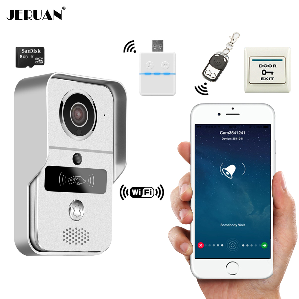 JERUAN Smart 720P Wireless WiFi Video Door phone Intercom Record Doorbell For Smartphone Remote View Unlock IOS Android View 2016 new wifi doorbell video door phone support 3g 4g ios android for ipad smart phone tablet control wireless door intercom