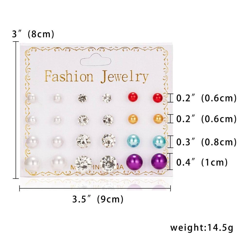 12 Pairs/set Stud Earrings Set With Card Transparent Zircon Balls Love Flowers Earrings Women Imulated Pearl Earrings Jewelry 5