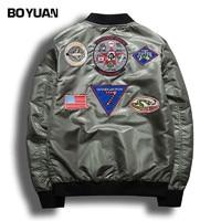 BOYUAN Spring Military Jacket Coat Men Badge Embroidery Casual Hip Hop Bomber Jackets Men Stand Collar