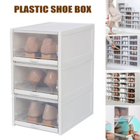 3 Pack/Set Stackable Storage Shoe Box Clear Plastic Shoes Containers Cases @LS