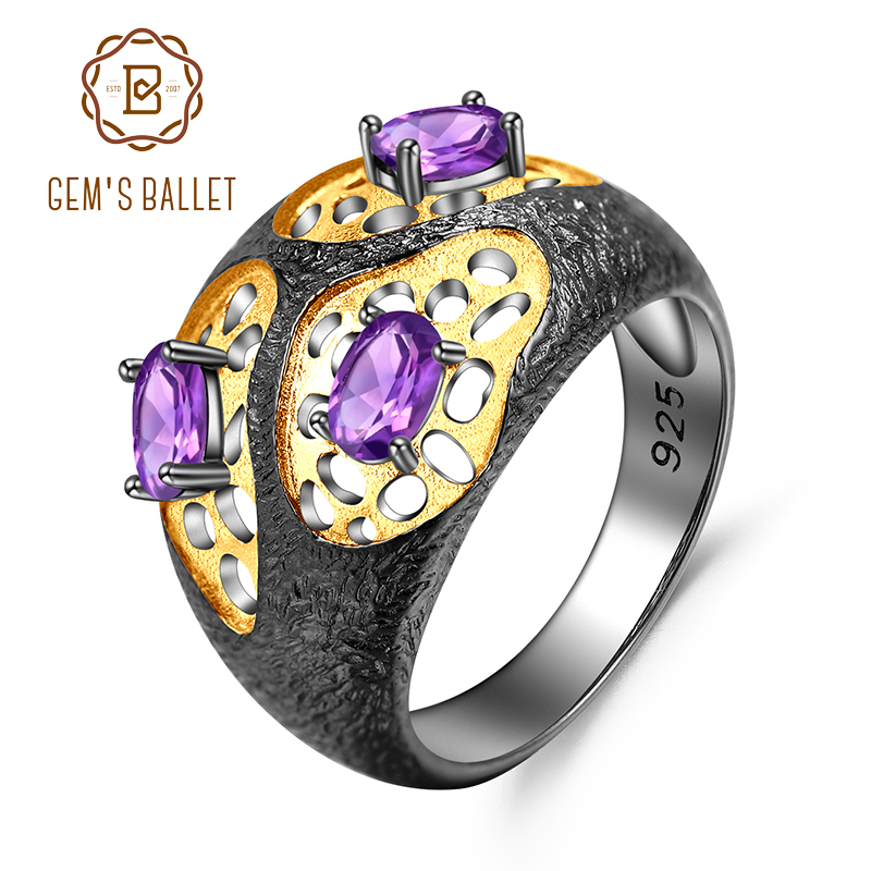 GEM'S BALLET Natural Amethyst Gemstones Ring The Persistence of Memory 925 Sterling Silver Original Rings for Women Fine Jewelry-in Rings from Jewelry & Accessories    1