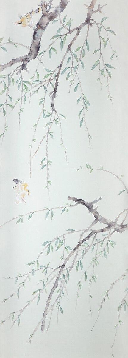 Классический стиль Элегантный Ручная роспись шелковые обои картина ива дерево с птицами обои много искусства/фон опционально