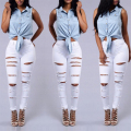 Sexy big holes ripped jeans tassels skinny high waisted pencil pants women trousers womans feminino