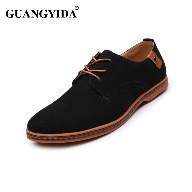 New 2017 men shoes suede leather shoes male fashion Brand casual soft leather shoes for men Plus size 45,46,47,48
