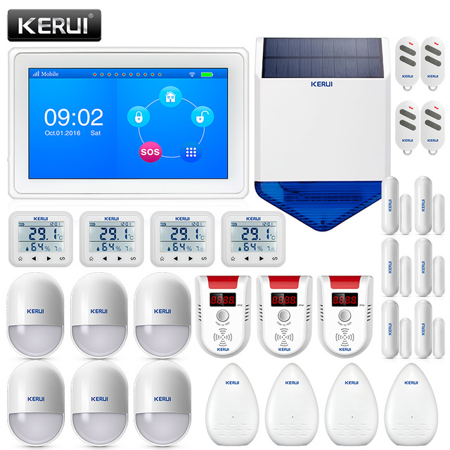 Cheap KERUI 7 Inch TFT Color Display WIFI GSM Security Alarm System Smart Home Wireless burglar alarm