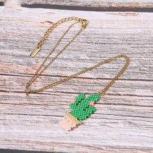 Miyuki Glass Beads Handmade Necklace Women Pink Green Plant Cactus Necklaces & Pendants Girl Friendship Stainless Steel Jewelry