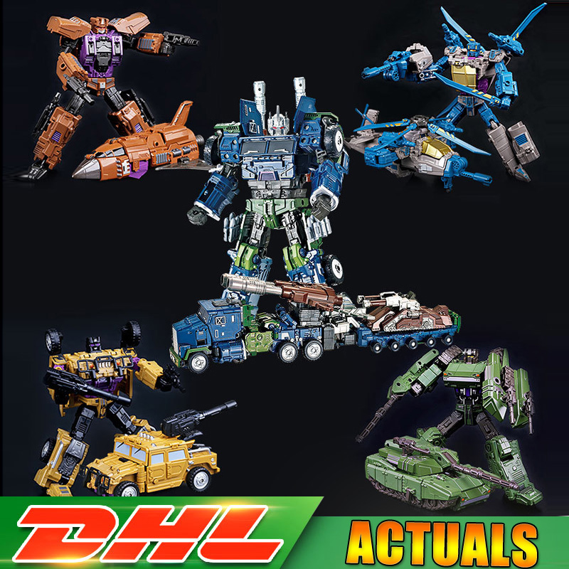 Transformation 5 IN 1 Bruticus Devastator Robot Car Action Figures Military Tank Oversize Model Classic Toys Gifts for Boys thinkeasy 8 pcs set puzzle transformation star wars space cars prime bruticus action figures block toys for kids birthday gifts