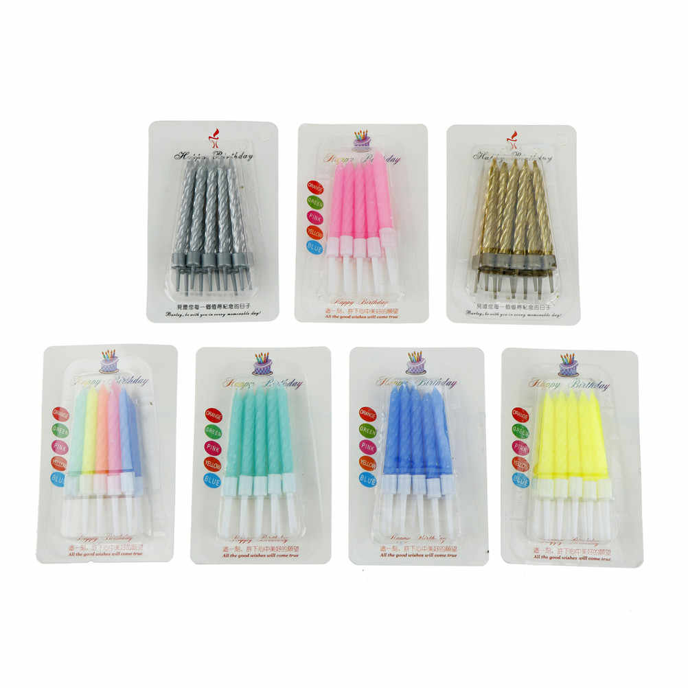 10pcs/lot Colorful Candles Crystal Thread Wedding Decoration Velas Pink Art Birthday Candle