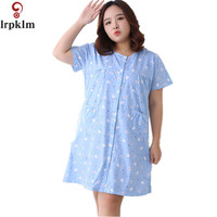 XXL 5XL Women Cotton Nightgown Rabbit Printed Sleepshirt Plus Size Night Shirt Casual Home Clothing Summer Dressing Gowns SY493