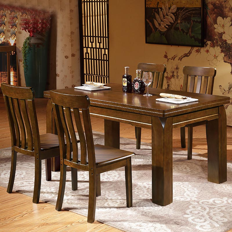 furniture restaurant solid wood combination rectangle 4 6 on solid wood dining table id=30327