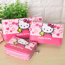 цены Cute Cartoon Hello Kitty Famous Brand Designer Purse Women Leather Wallets For Girls Clutch Purse Lady Party Wallet Card Holder