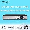 LIN WAN Nova Chegada 4MP 3MP 4CH 8CH Gravador DVR Híbrido Gravador de vídeo Registrar para 3MP 1080 P HD CVI TVI IP Analógico câmera