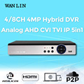WAN LIN New Arrival 4CH 8CH 4MP 3MP Hybrid DVR Recorder Video Recorder Register for 3MP 1080P HD Analog TVI CVI IP Camera